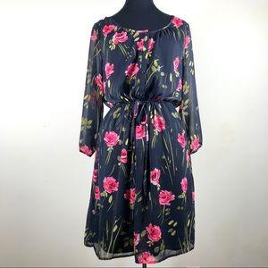 Old Navy Grey & Pink Floral Print Dress